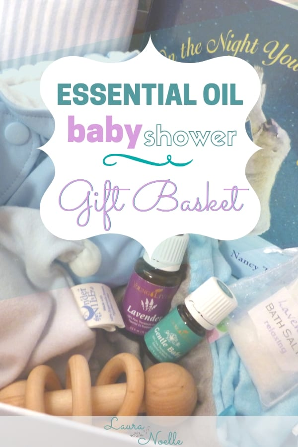 Make a cuddly and comforting baby shower gift basket! | baby shower | gift basket | essential oils