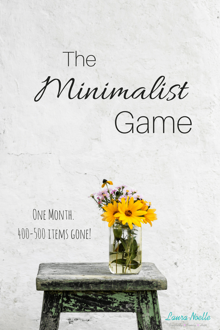 The Minimalist Game is an amazing way to get 400-500 items out of your home in one month! Each day you get rid of that day's number of things and it adds up FAST!