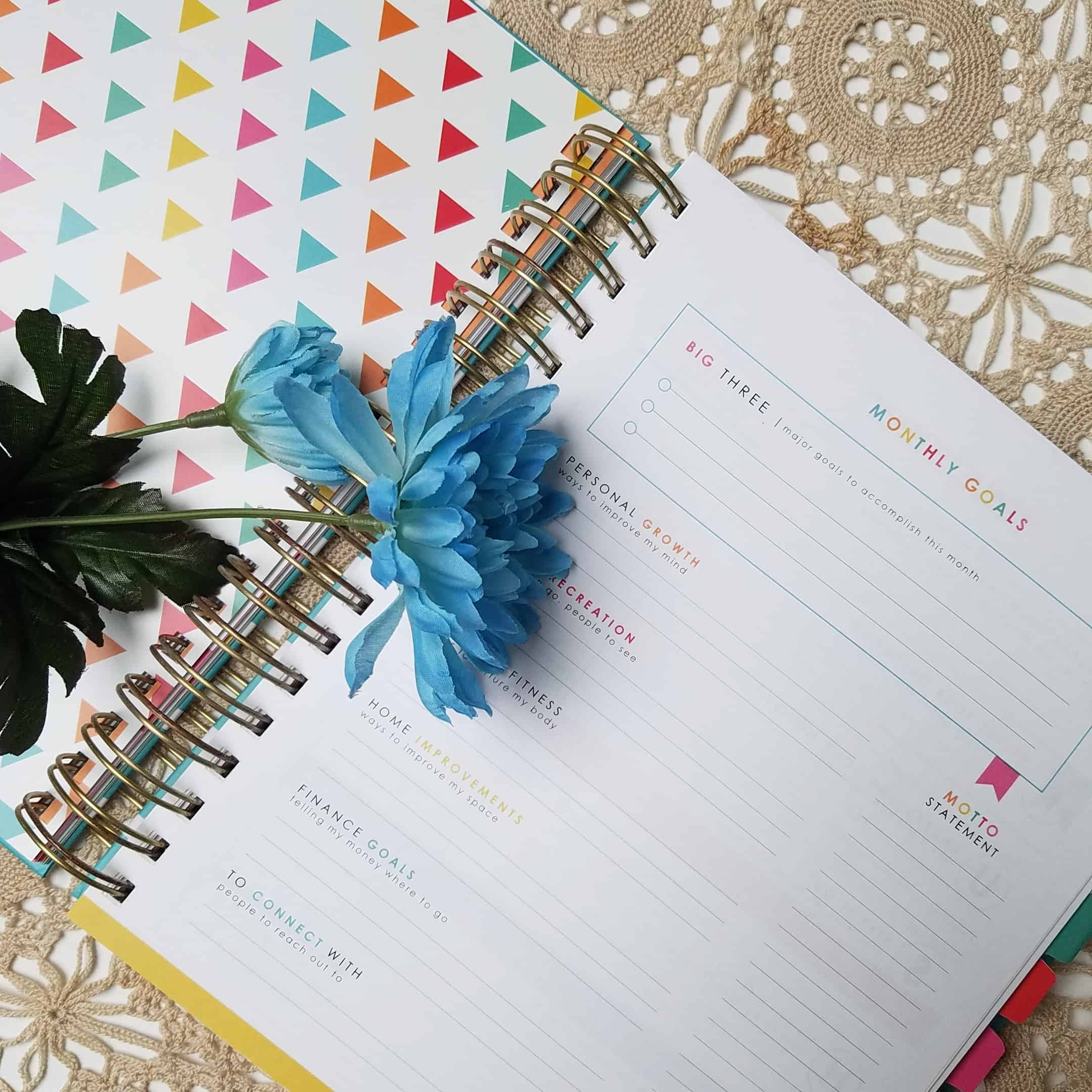 Monthly Goals in the goal crushing living well planner