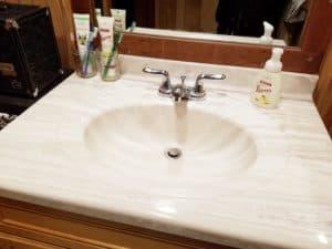 minimalist decluttered bathroom counter