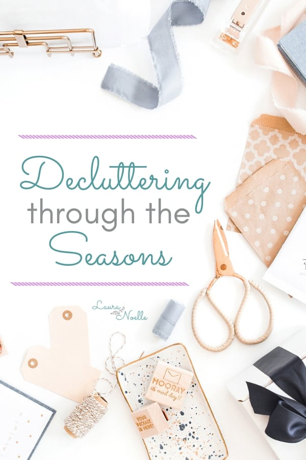 Decluttering through the seasons can simplify and streamline your home organization. Plus, grab the free seasonal worksheets to keep you on track! | home organization | decluttering | organizing