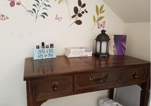 sewing table and backdrop